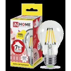 Лампа светодиодная ASD E-27 A60 7W теплая филамент
