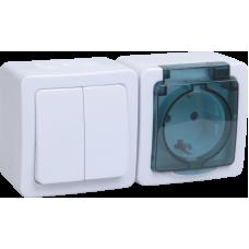 Блок 2кл+розетка с крышкой горизонтальный IEK Гермес Plus IP54 дымчатый