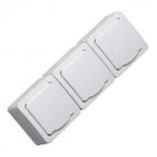 Розетка 3я с крышкой IEK Гермес Plus IP54 белый