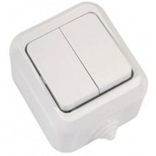 Выключатель двухклавишный MAKEL Nemliyer IP44 белый