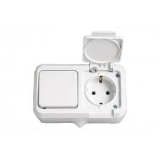 Блок 1кл+розетка с крышкой MAKEL Nemliyer IP44 белый