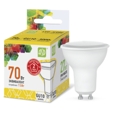 Лампа светодиодная ASD GU10  7.5W теплая