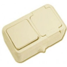 Блок 1кл+розетка с крышкой MAKEL Nemliyer IP44 крем