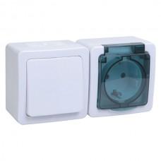 Блок 1кл+розетка с крышкой горизонтальный IEK Гермес Plus IP54 дымчатый