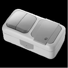 Блок 2кл+розетка с крышкой VI-KO Palmiye IP54